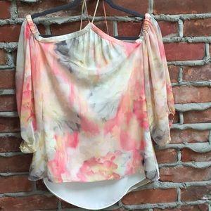 White House Black Market cold shoulder blouse